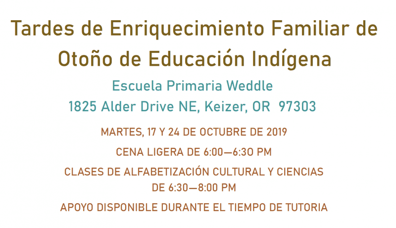 Indian Education Fall Family Enrichment Nights - 2019